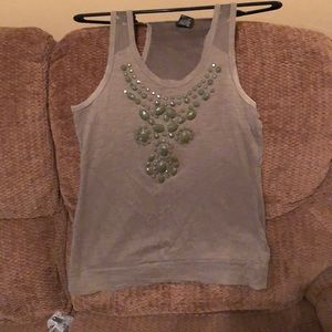 Olive Green Tank Top with Decorative Front